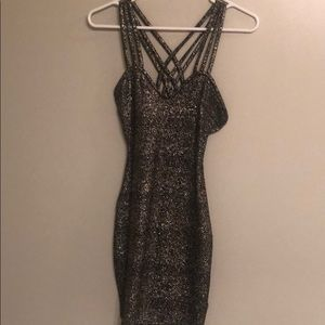 Dresses & Skirts - Black and silver metallic dress size S